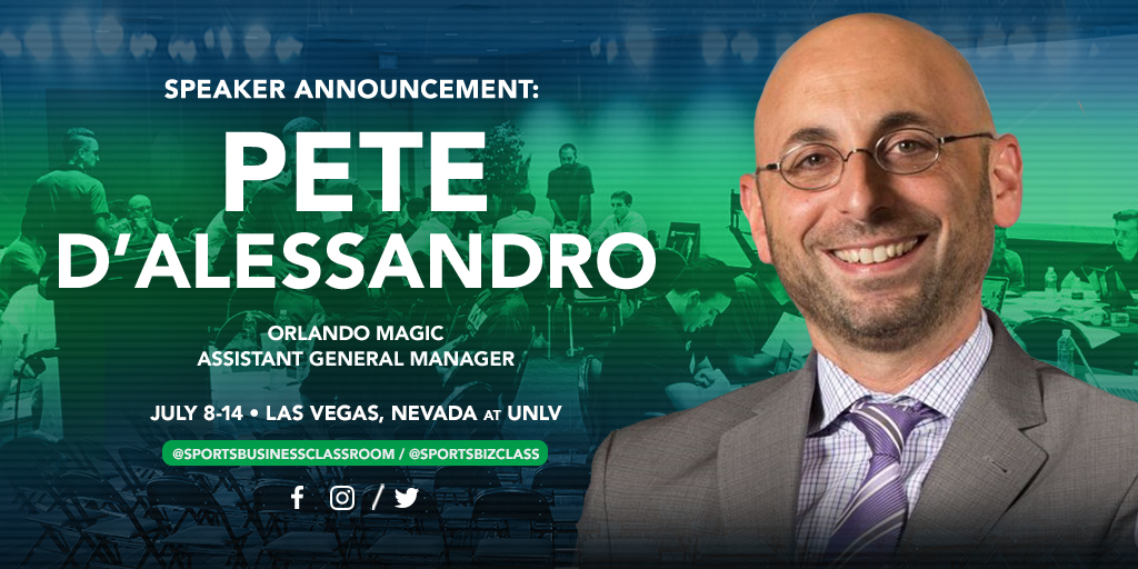 Pete D'Alessandro , Assistant General Manager for the Orlando Magic, to be a featured speaker at SBC 2018